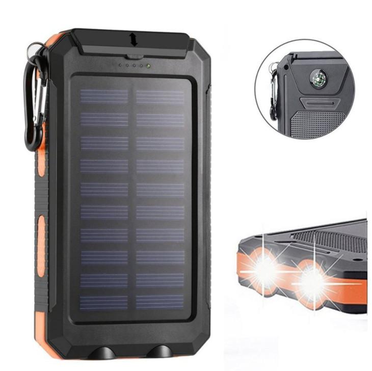 Солнечная батарея,20000Портативный мобильный внешний аккумулятор мАч,Внешний резервный аккумулятор для кемпинга Два выхода USB 5V 1A / 2A с функцией SOS & Компас