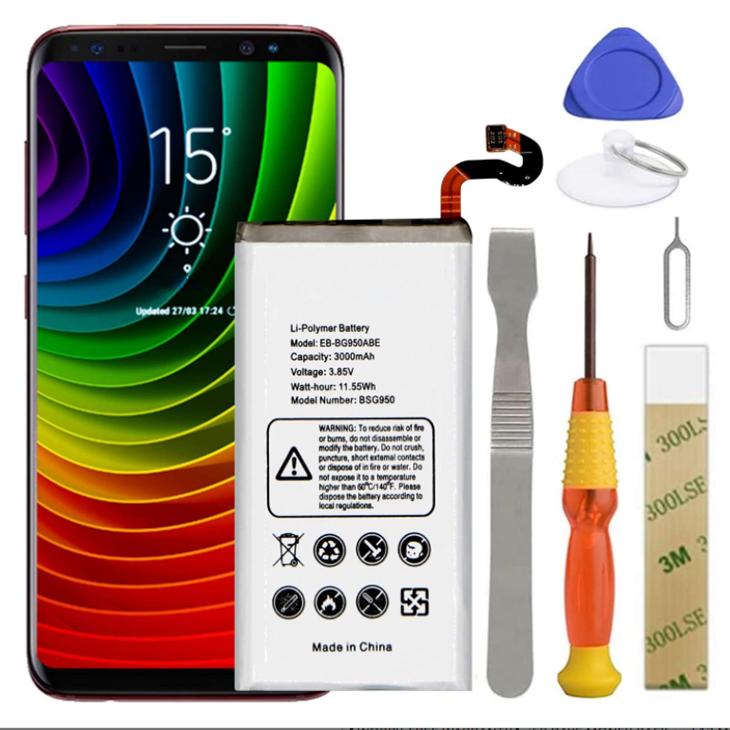Remplacement de la batterie du Galaxy S8, EB-BG950ABE Batterie pour Samsung Galaxy S8 SM-G950 G950A G950V G950T G950P G950F G950R4 avec Kits d'outils de réparation