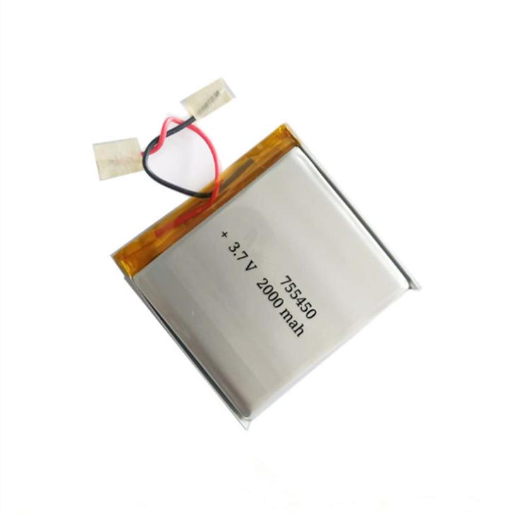 755450 led Lamp Toys Li-Polymer Battery, 3.7v,2000mAh Bluetooth Speaker rechargeable Battery