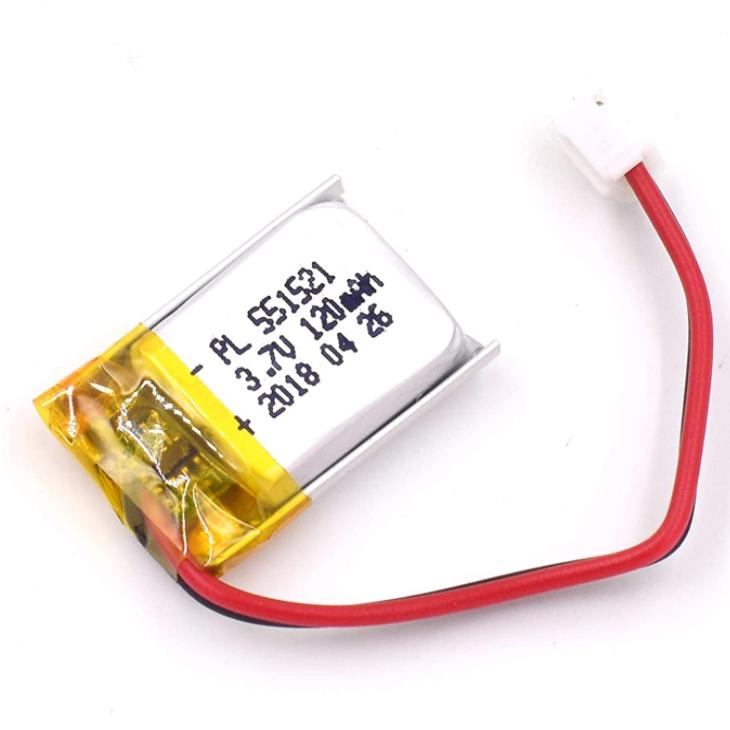 3.7V 120 mAh 551521 Batería Lipo Batería de iones de polímero de litio recargable con conector JST